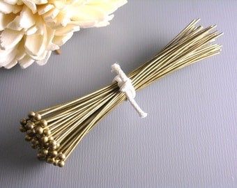 HEADPIN-AB-63MM - High Quality Antique Bronze Brass Ball End Headpins (22 guage) - 2.5 inches....50 pcs