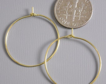 HOOP-GOLD-WINE-25MM - 25mm Gold Plated Hoop Earrings...20 pcs (10 pairs)
