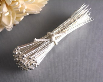 HEADPIN-SILVER-26G-50MM - 26 gauge Silver Plated Ball End Headpins 50mm long (2 inches) Nickel Free...50 pcs