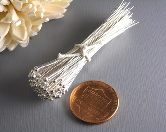 HEADPIN-SILVER-26G-50MM - 26 gauge Silver Plated Ball End Headpins 50mm long (2 inches) Nickel Free...100 pcs