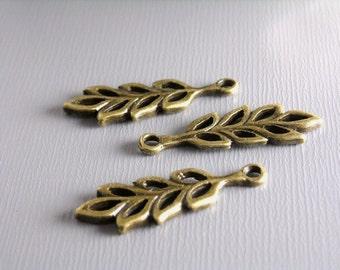 Antique Bronze Leaf Charms...6 pcs