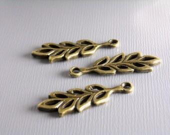 25% off - CHARM-AB-BRANCHLEAF - Antique Bronze Leaf Charms...6 pcs