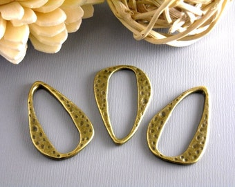 CHARM-AB-OVAL - Antique Bronze Brass Textured Charm/Linking Ring, 6 pcs, Nickel Free