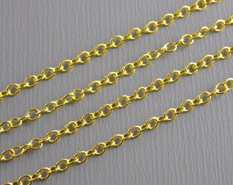 CHAIN-GOLD-2MMx1.5MM - 10 Feet Fine Link 14k Gold Plated Chain