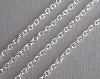 CHAIN-SILVER-2MMx1.5MM - 10 feet Fine Silver Plated Chain, 2mm x 1.5mm