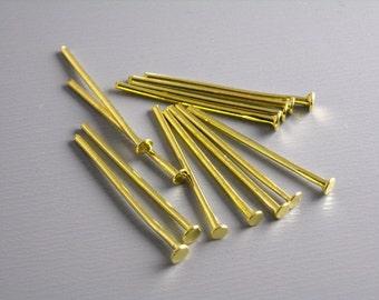 HEADPIN-GOLD-20G-20MM - 50 pcs of 20mm 14k Gold Plated Headpins (20 guage)