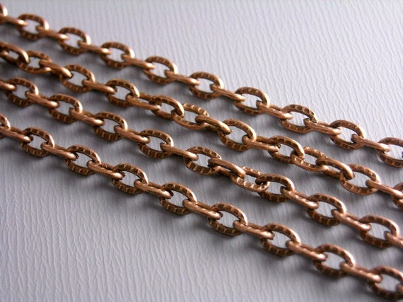 CHAIN-COPPER-4MMx3mm - 10-Foot 4mm x 3mm Textured Antique Copper Chain