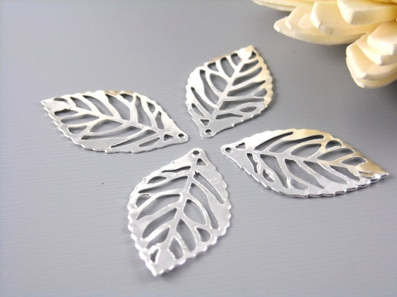 CHARM-SILVER-LEAF-23.5MM - Silver Plated Leaf Charms, 23.5mm - 20 pcs