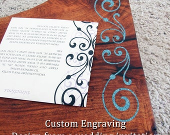 Personalized Wedding Gift - Custom Wood Cutting Board - Handcrafted Engraving for our Natural Edge Serving Board - Great Anniversary Gift