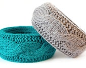Wool bracelet - turquoise & gray