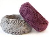Wool bracelet - purple & grey