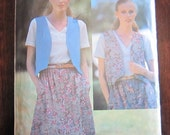 SALE - 80s -Vintage See and Sew Pattern by Butterick 6389 - Misses Reversible Vest and Skirt  -size 10