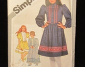 1981- Simplicity Sewing Pattern 5349- Child-girl Pullover DRESS in 2 lengths- Size 10