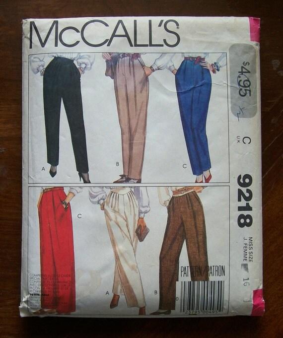 1984-Vintage McCall's Pattern 9218-  Misses PANTS-size 16-UNCUT
