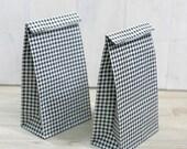 20 Black Check Paper Bag - Small