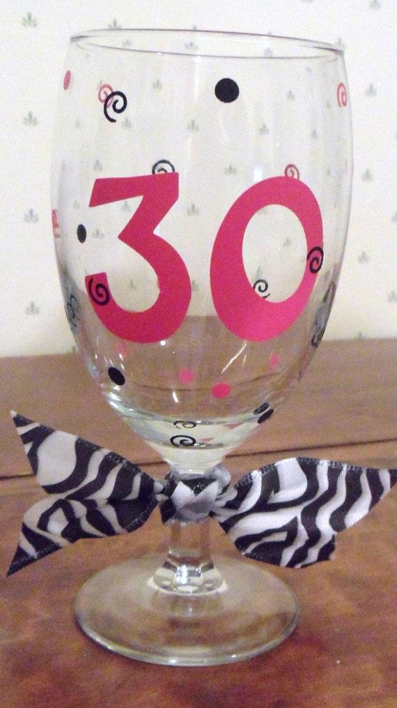 Fun & Fancy 30th Birthday glass