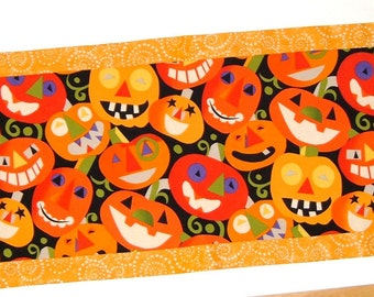 Halloween Jack O Lantern Reversible Fall Table Runner - PRICE REDUCED