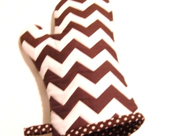 Oven Mitt Chevron Brown and White - Gift Under 20 - Gift for Foodie - Gift for Dad