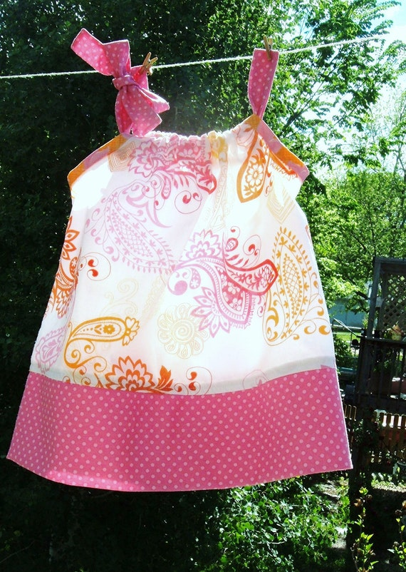 Toddler Girl's Sundress White and Bright Paisley Orange Pink Yellow  PRICE REDUCED