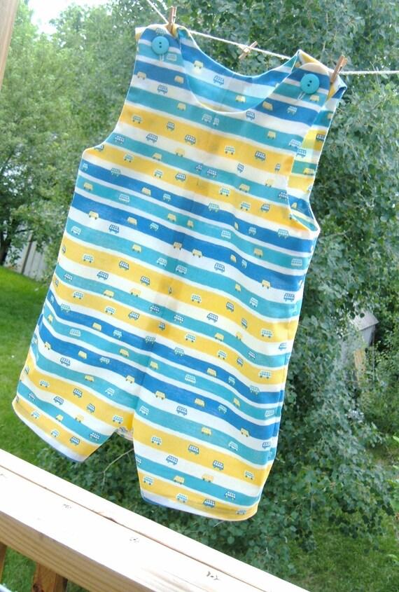 Toddler Boy Romper -  Size 2T - Striped Jon Jon - PRICE REDUCED