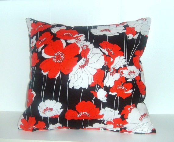 16x16 Accent Pillow COVER Red and White Poppies on Black B