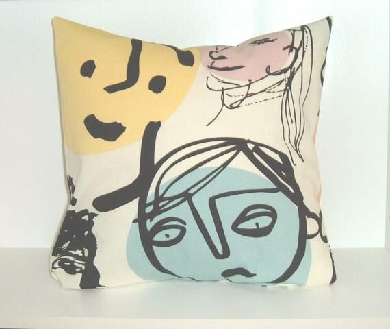Pillow Cover 16 x 16 - Faces - Dorm Decor