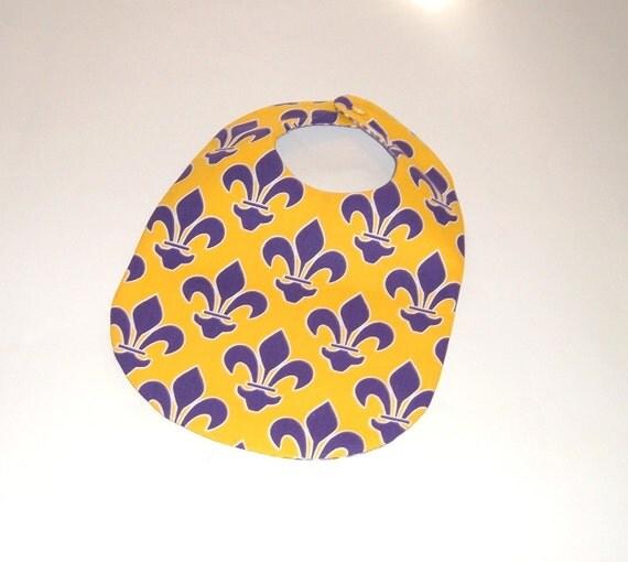 Baby Bib - LSU - Purple on Gold Fleur de Lis
