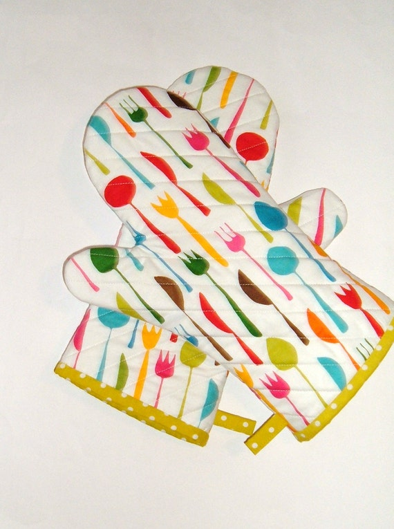 Oven Mitts Bright Flatware on White - FREE DOMESTIC SHIPPING