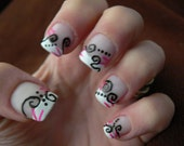 Handpainted French Manicure Full Nails tips with Black and Pink Design