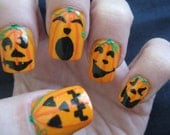 Halloween Design Full Set of Nail Tips-Jack o Lantern Faces