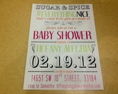 Sugar and Spice Baby Shower Invitation