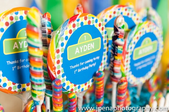 Sesame Street Lollipop Labels