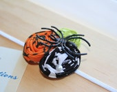 Sale - Halloween Fabric Flower Trio w/Pearl and Spider Detail on White Ultra Thin Headband