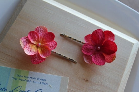 Hot Pink & Tangerine Flower Pins - Photo Prop - Flower Girl - Birthday Gift