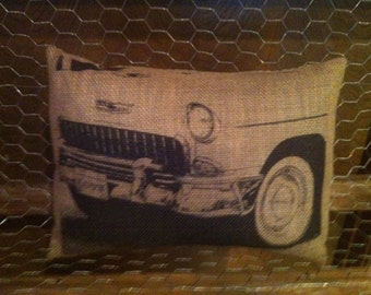 Vintage Car Burlap Pillow, Car Collector, Love Car pillow, INSERT INCLUDED