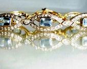 Vintage Bracelet 3.3Ct Diamonds & 10 Large 6x4mm Aquamarines 18k Gold 18.6g