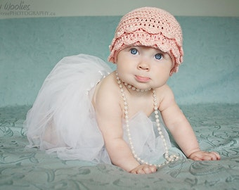 "Baby Crochet Hat Pattern: ""Vintage Pearls"" Crochet Hat, Booties/Ballet Slippers, Pearls(0-3 mo, 6-9 mo & 12mo)"