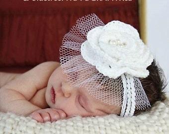 CROCHET PATTERN: 'Wee Whimsies', Fascinator, Birdcage Veil, Crochet Flower, Christening, Wedding or Photo Prop