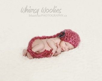 Baby Crochet Hat Pattern: 'Pixietales' with Fabric Flower Embellishment, Crochet Photo Prop