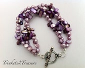 Purple Chip and Freshwater Pearl Beaded Bracelet