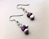 Lilac Freshwater Pearl and Purple Chip Bead Earrings