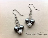 NEW - Grey Pearl and Filigree Heart Earrings