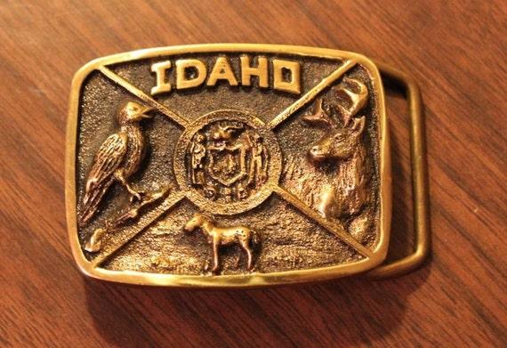 Idaho Wildlife Brass Belt Buckle