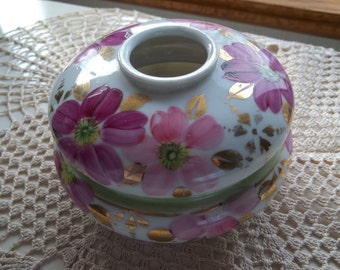 Hair Receiver, Hand Painted Pink Flowers, Made in Japan, Vintage Decor, Dressing Table Accessory