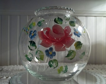 Hand Painted Round Glass Bowl, Shabby Cottage Decor, Vintage Rose Bowl,