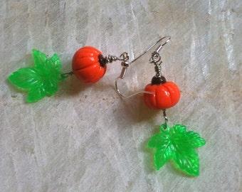 Fall Pumpkin Earrings - Polymer clay