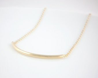 Curve bar necklace, available in gold or silver, curve tube necklace for layering, layering necklace