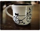 SUMMER SALE - Bicycle Black Porcelain Mug