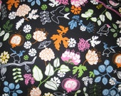 """Black Pillow Cover with Bright Flowers, Leaves and Birds- Set of 2- 24""""  - Euro Sham- Free U.S. Shipping"""