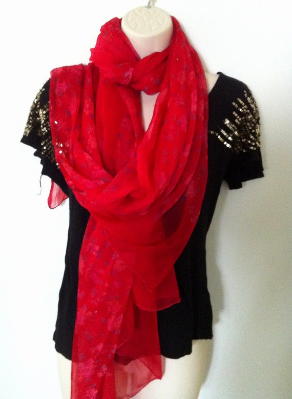 Vintage Red Chiffon Scarf, Floral scarf, Women's scarf, Long Wrap, Light chiffon accessory,Vintage Clothing